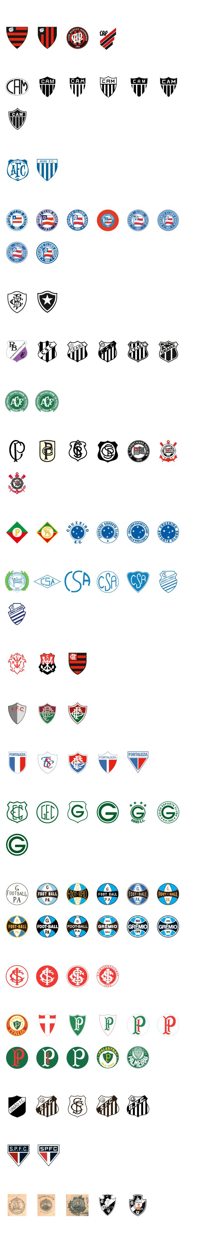 87bb7858461b7a Veja a evolução dos escudos dos 20 clubes da Série A do Brasileiro ...